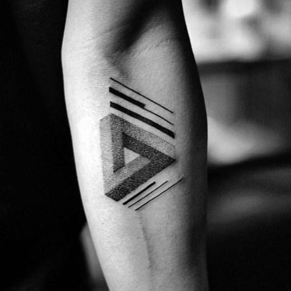 8fbc8f306 60 Penrose Triangle Tattoo Designs For Men - Impossible Tribar Ideas ...