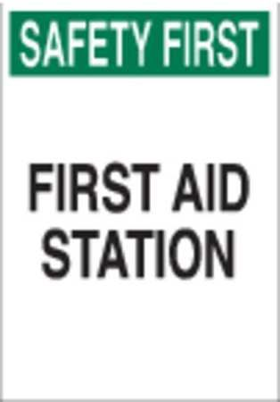 Brady 85325 First Aid Sign,10 X 7In,grn And Bk/wht