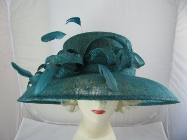 ed6c117fc7962e Elegant dark teal sinamay special occasion hat decorated with sinamay  swirls, bow and feather tendrils. Ideal for weddings, races, Ascot, Ladies  day, ...