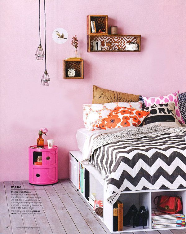 Such a cute room) BEDROOMS Pinterest Bed storage, Hanging