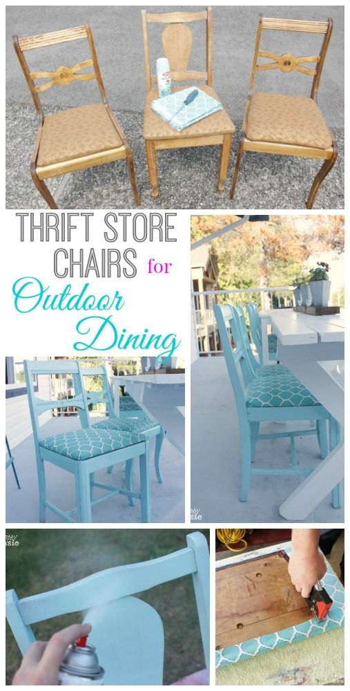 How to Turn Thrift Store Finds into an Outdoor Dining Set   The Happy Housie is part of Furniture makeover - How to turn thrift store finds into an outdoor dining set including how to paint and reupholstered thrift store chairs so they can be used outside  Also how to freshen up old wicker chairs and give them a whole new look in minutes