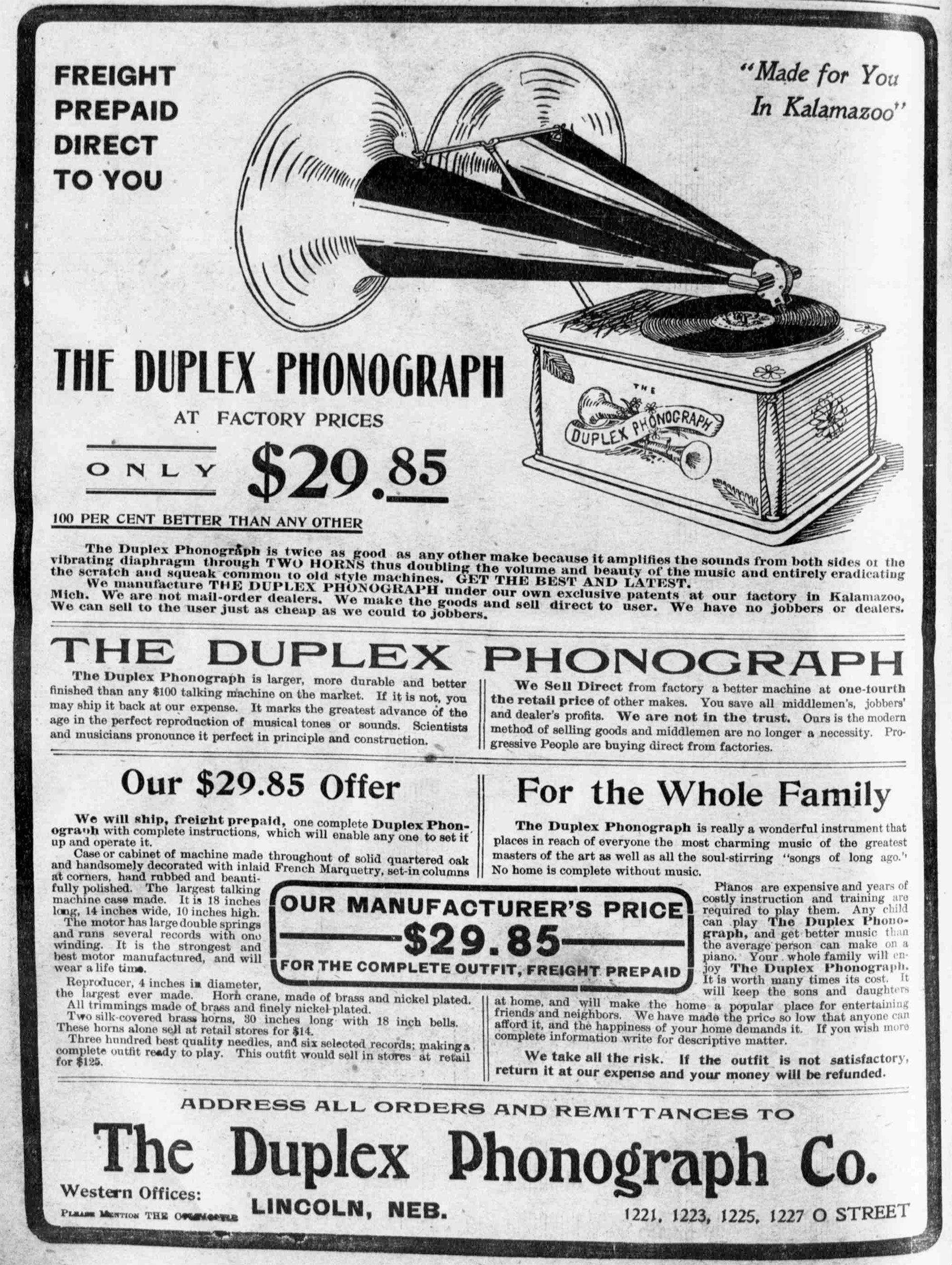 Kalamazoo duplex Phonograph
