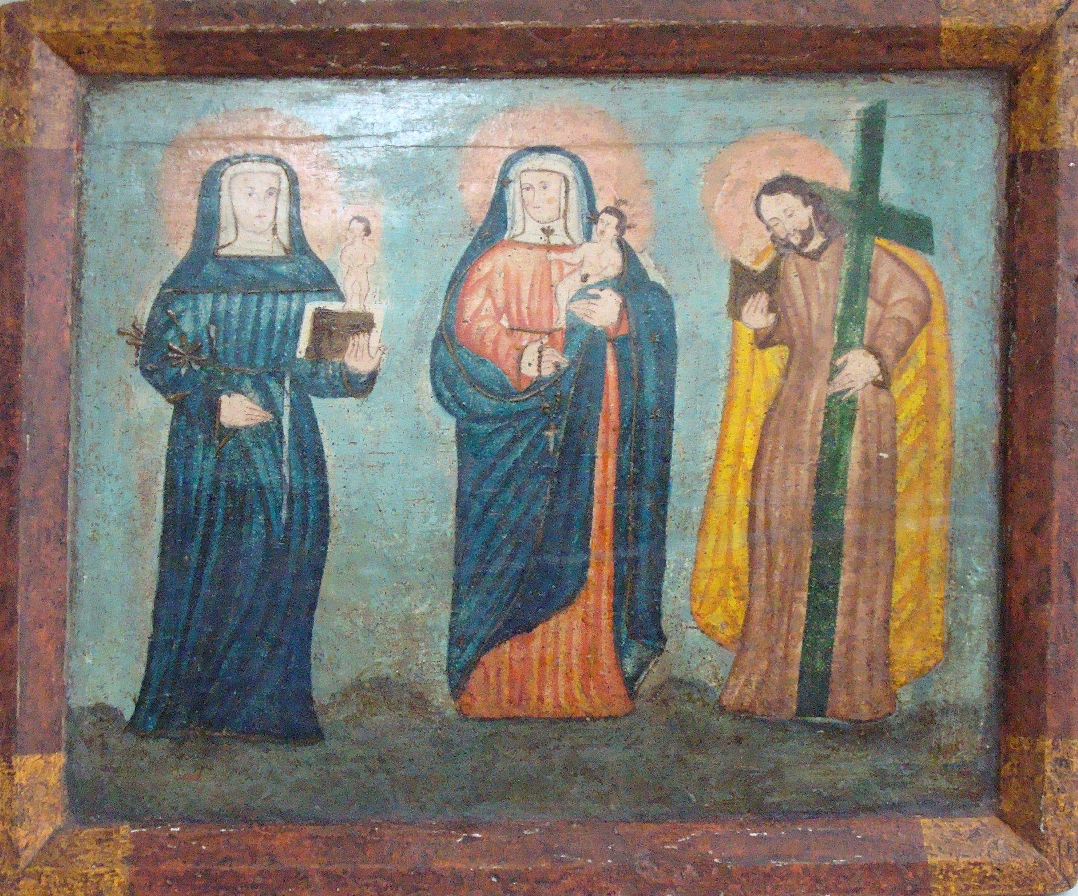 """Retablo """"Virgen de Chiquinquirá"""" colonial venezolano siglo XVIII, oleo/tabla, med: 34X29 cms."""