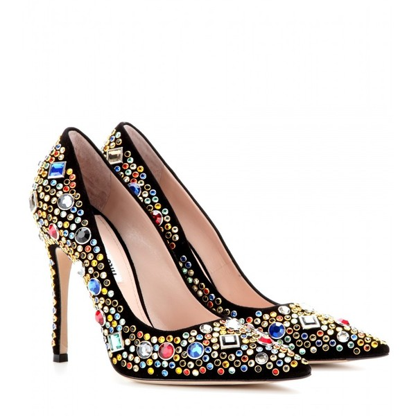 17f5595ca52 Miu Miu Crystal-Embellished Suede Pumps ( 995) ❤ liked on Polyvore  featuring shoes