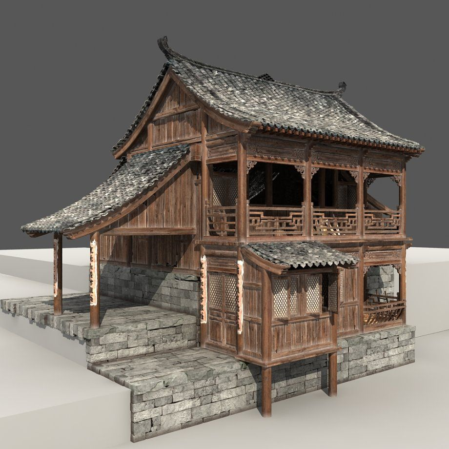 3d computer rendering of an old chinese house more views for Small house design made of wood