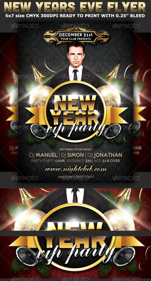 New Years Eve Vip Party Flyer Template Party flyer, Flyer - new year brochure template