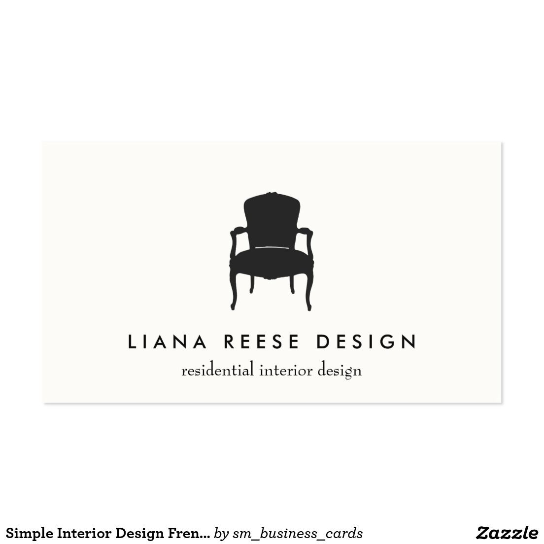 Simple Interior Design French Chair Logo Cream Business Card ...