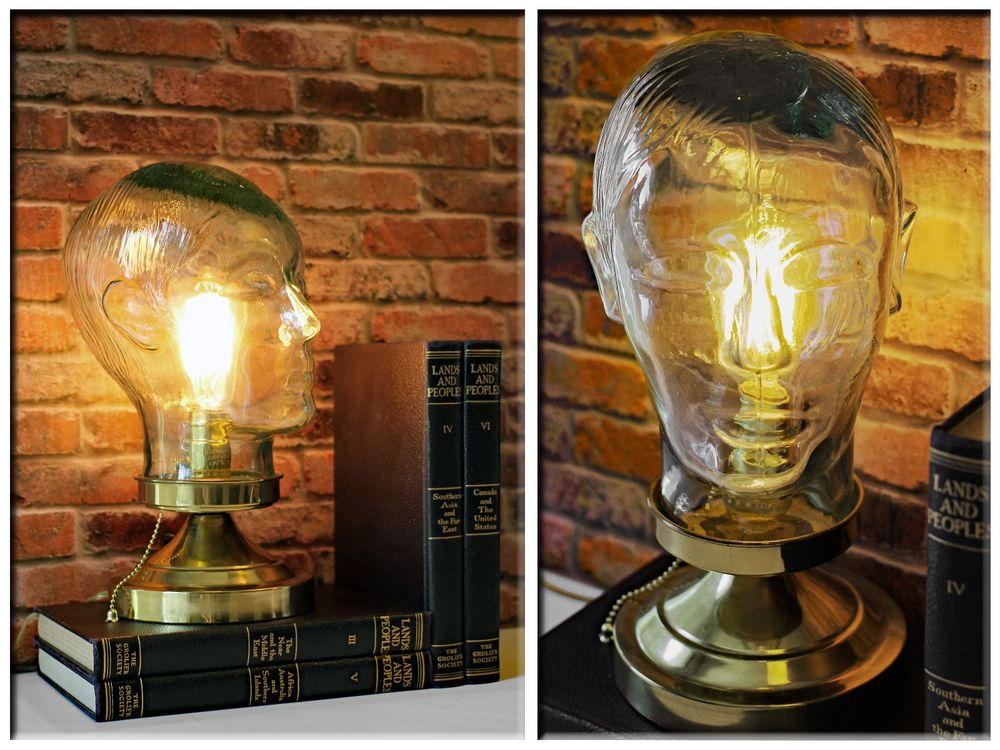 Vintage Re-purposed Clear Green Glass Mannequin Head Up-cycled Industrial Lamp…