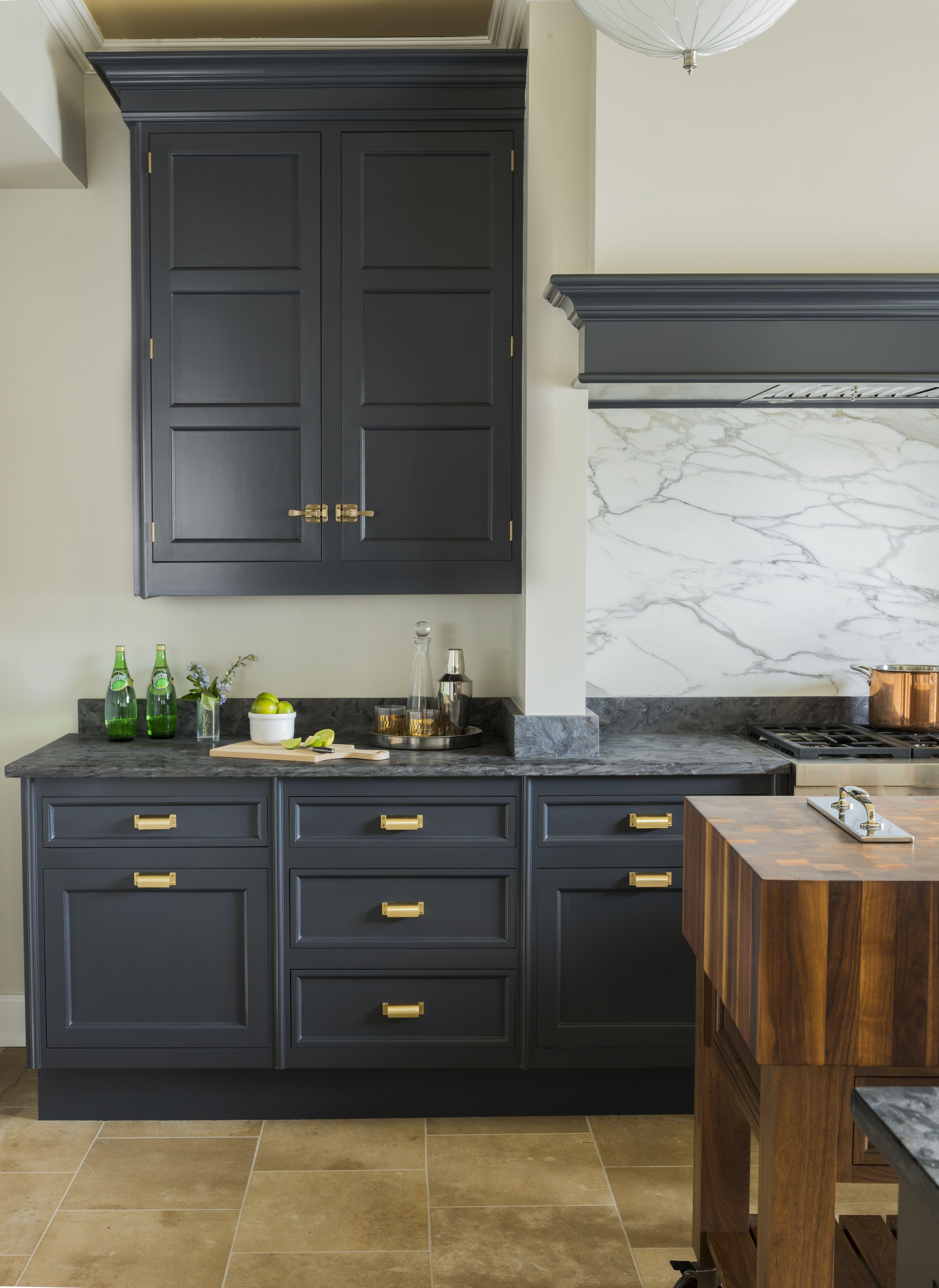 Dark Grey Kitchen Cabinetry Satin Brass Hardware Marble Backsplash Dark Grey Kitchen Grey Kitchen Designs Kitchen Design