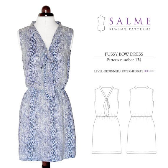 Pussy Bow Dress PDF Sewing Pattern by Salmepatterns on Etsy, $8.00 ...