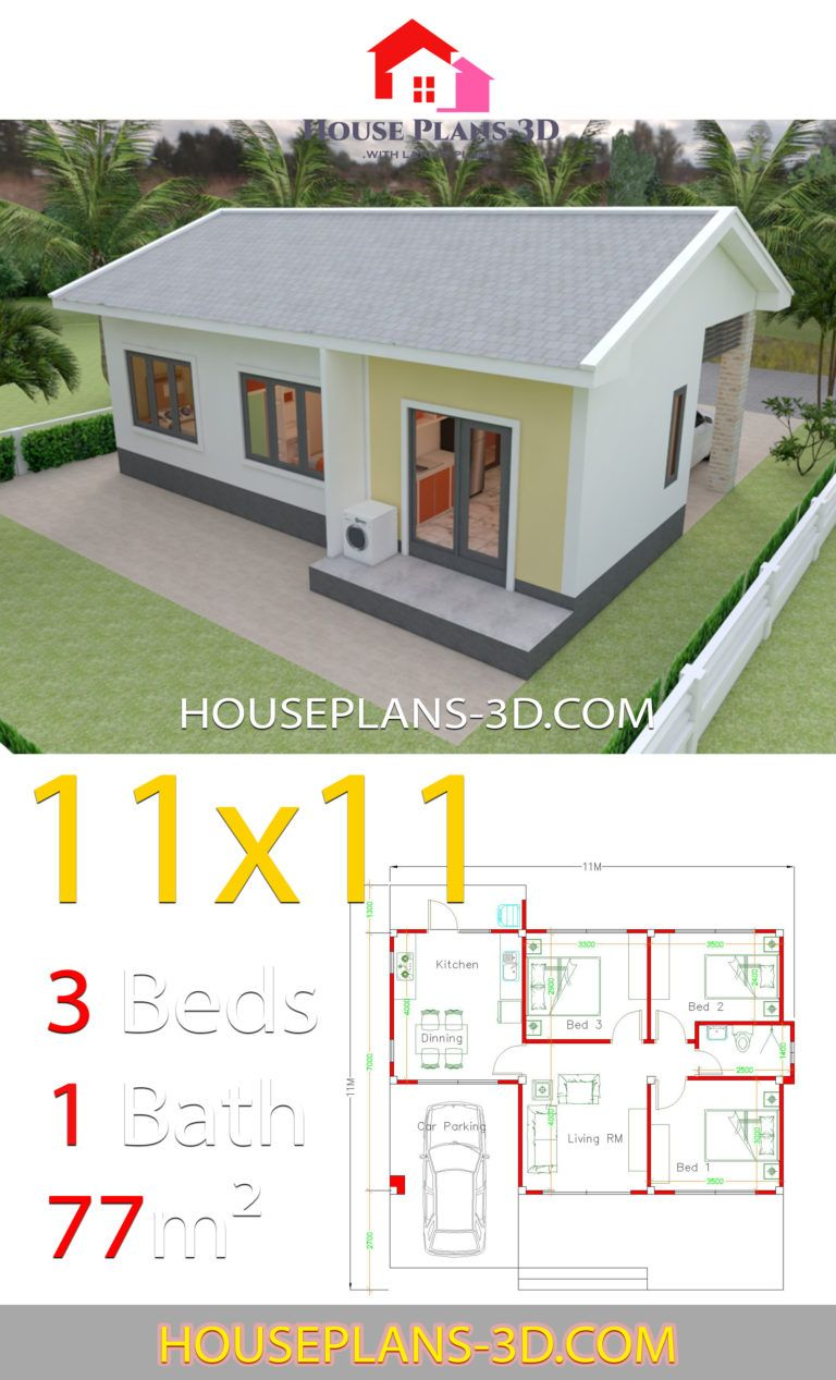 Simple House Design Plans 11x11 With 3 Bedrooms House Plans 3d In 2020 House Plans Simple House Design Simple House