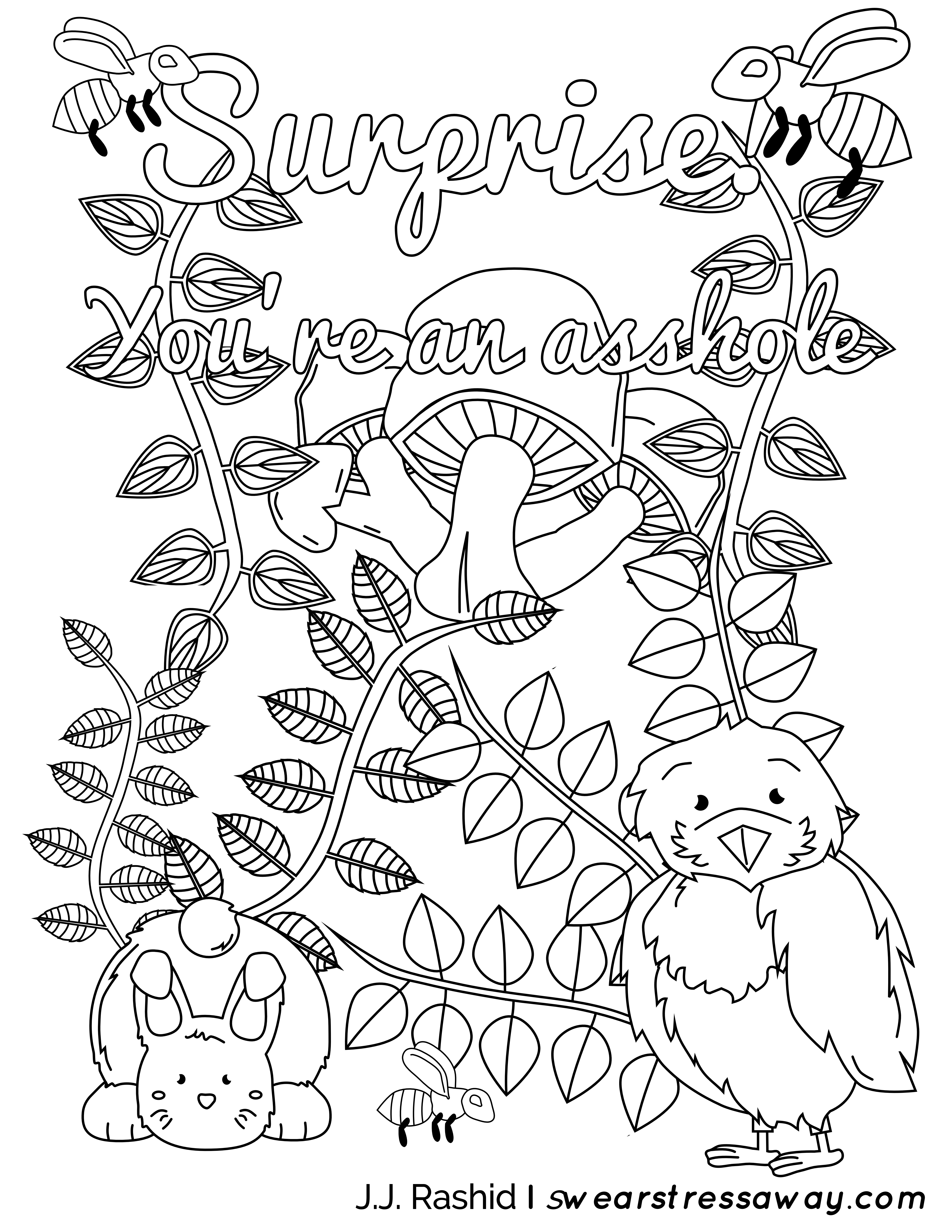 Surprise youre an asshole Adult Coloring Page Screw You As