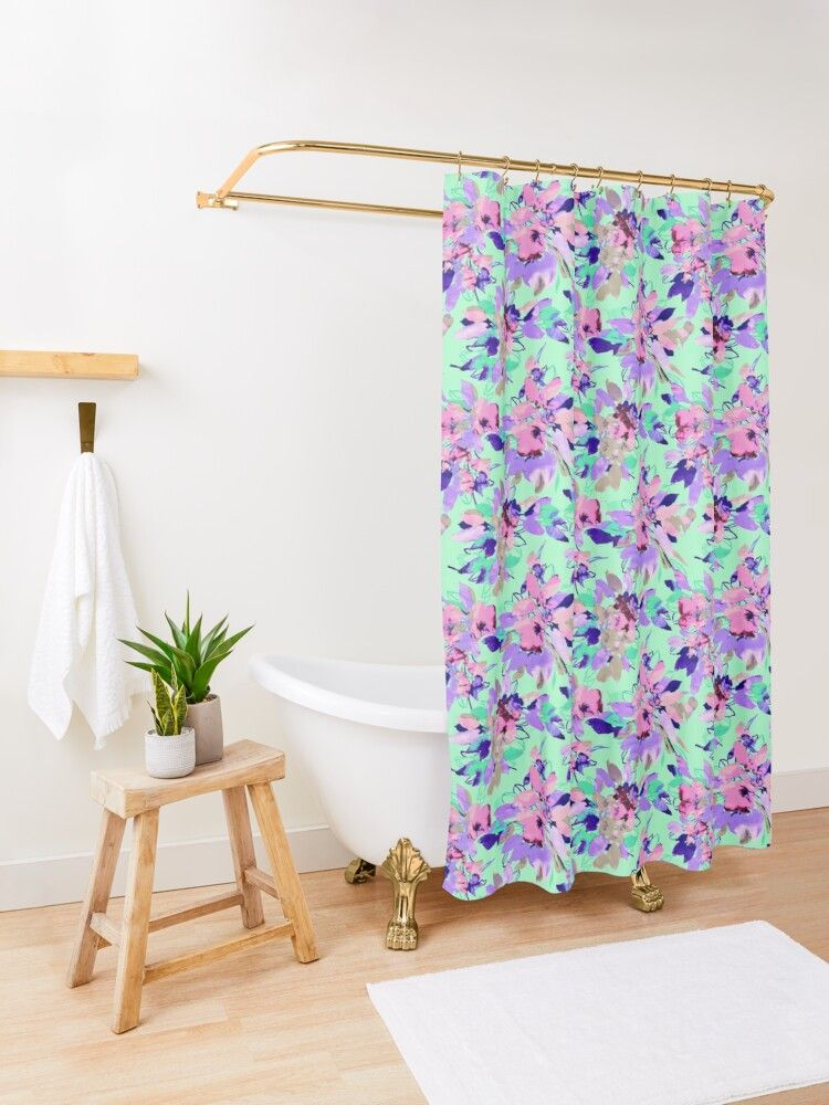 Shower curtains featuring pink flowers and neon green pattern. 12 button holes (shower hooks and liner not included), made from 100% Polyester. Vivid, full color print on front, white on back. Machine wash cold. #neongreen #pink flowers #green #pink #flower #floral #water #shower #showercurtains #showerdecor #bathroom #bathroomdecoration #bathroomdecor #curtains #pattern #cool #trendy #curtaindesign #showerdesign #coolshower #decor #showerideas #showers #bathroomdesign #bathroomideas