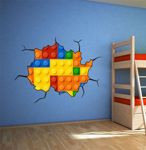 Lego Wall Art building blocks - bricks on wall - cracked wall sticker - bricks