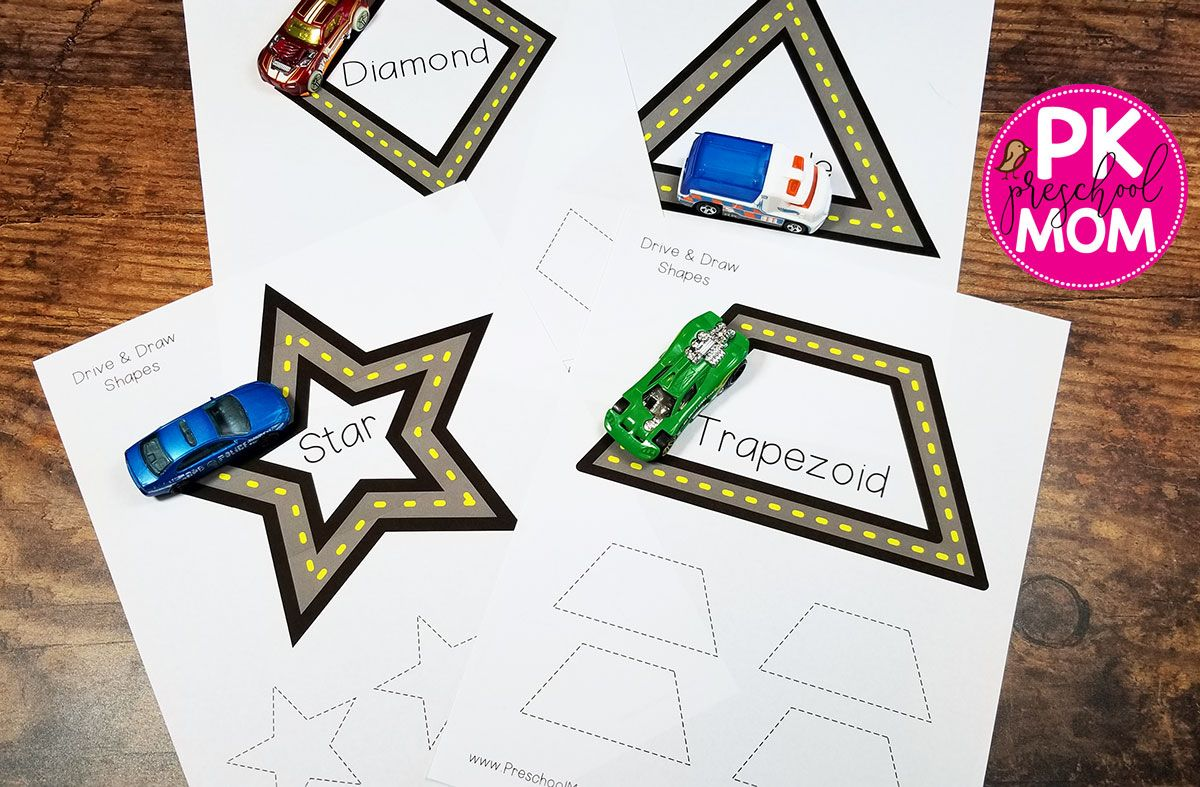 Free Drive Amp Trace Shape Mats Shapes Worksheets