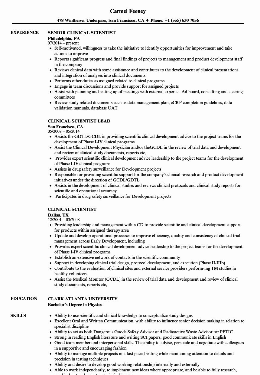 Clinical Laboratory Scientist Resume New Clinical