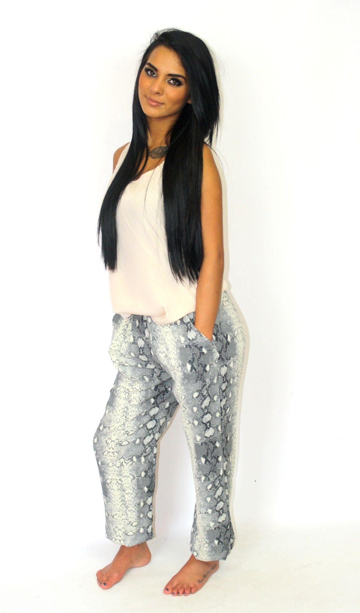 Snake print slouch pants