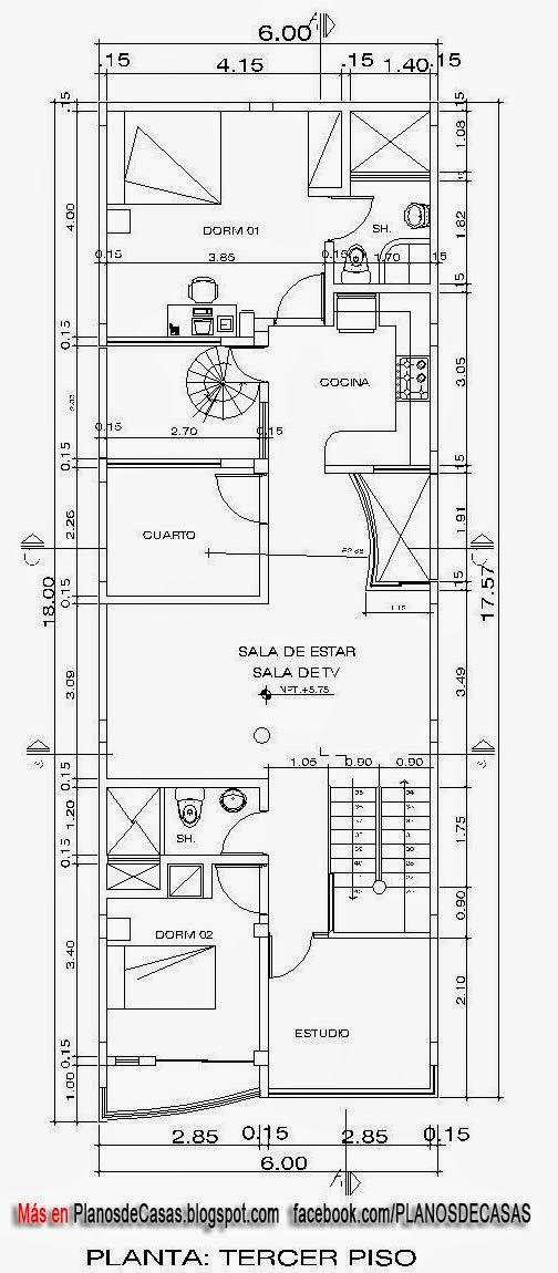 Planos de casa unifamiliar 3 pisos con medidas gjjj en for Planos casas minimalistas una planta