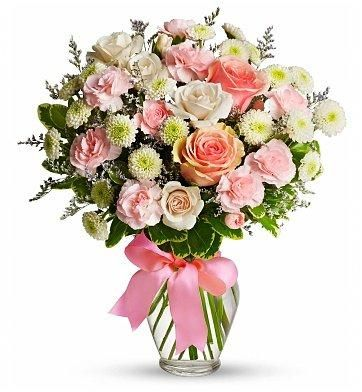 This Pretty Bouquet Is Just As Sweet As Cotton Candy And Ready To Make Any Recipient Smile Featuring A Un Get Well Flowers Flower Arrangements Flower Delivery