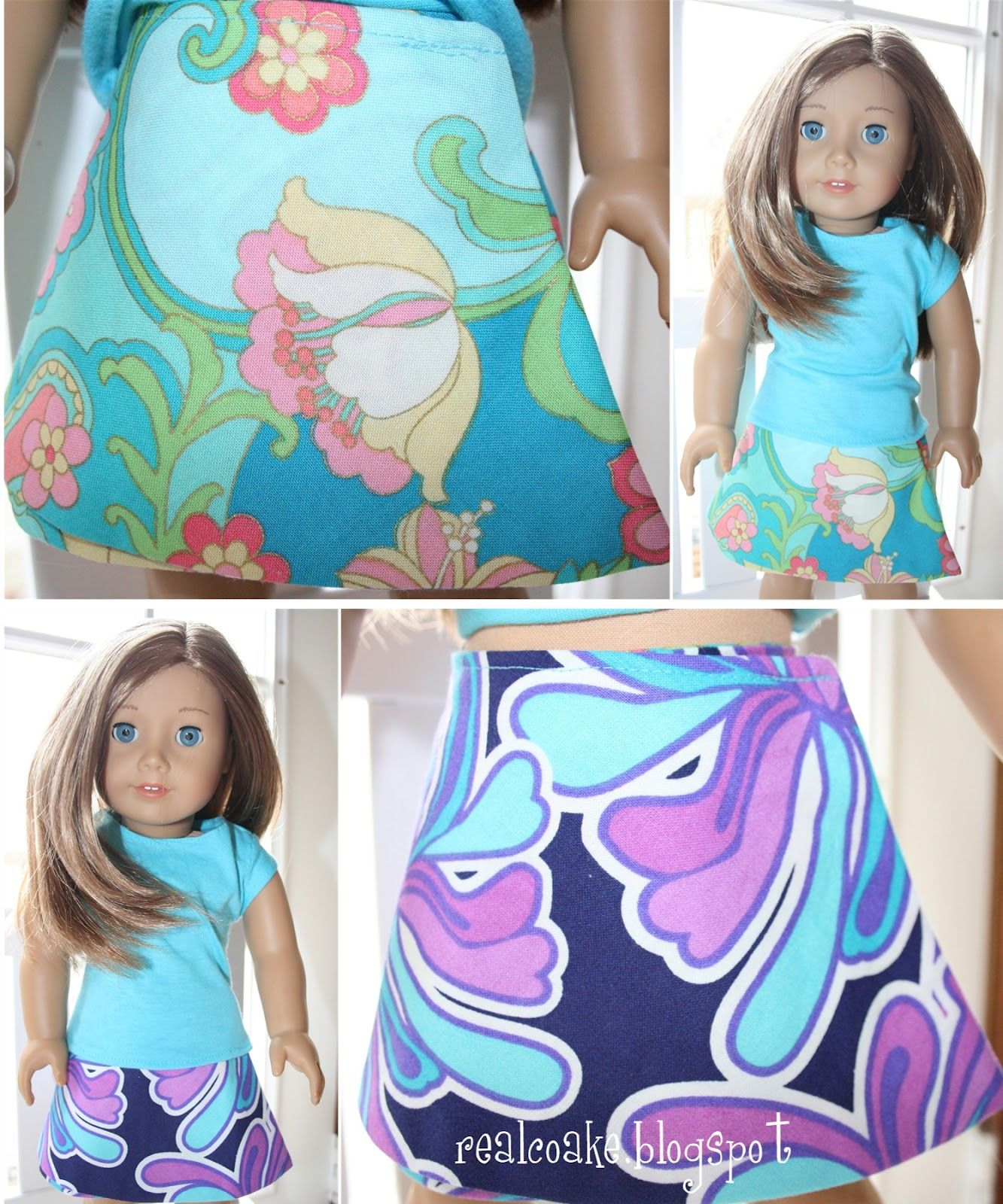 American Girl doll clothes pattern to sew a reverisble wrap skirt ...
