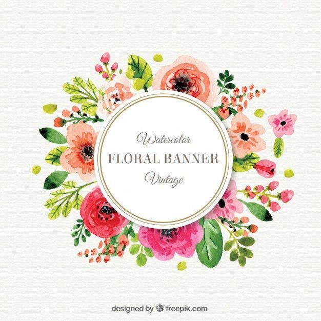 b689cd7872c92 Bonito marco de flores en estilo vintage Vector Gratis