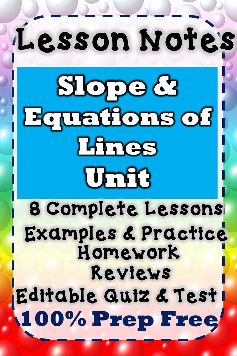 Algebra Slope Writing Equations Of Lines Lesson Notes Homework