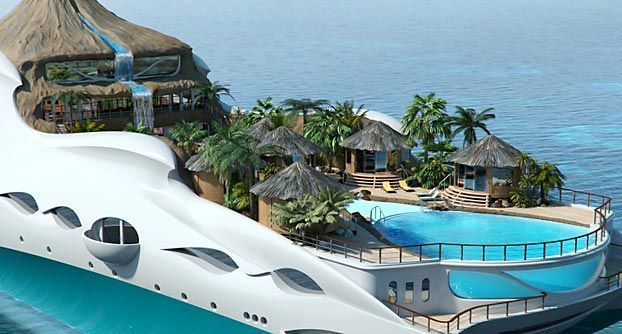 High Quality Tropical Island Yacht With Lagoon Pool Fed By A Volcano Waterfall. Pictures Gallery