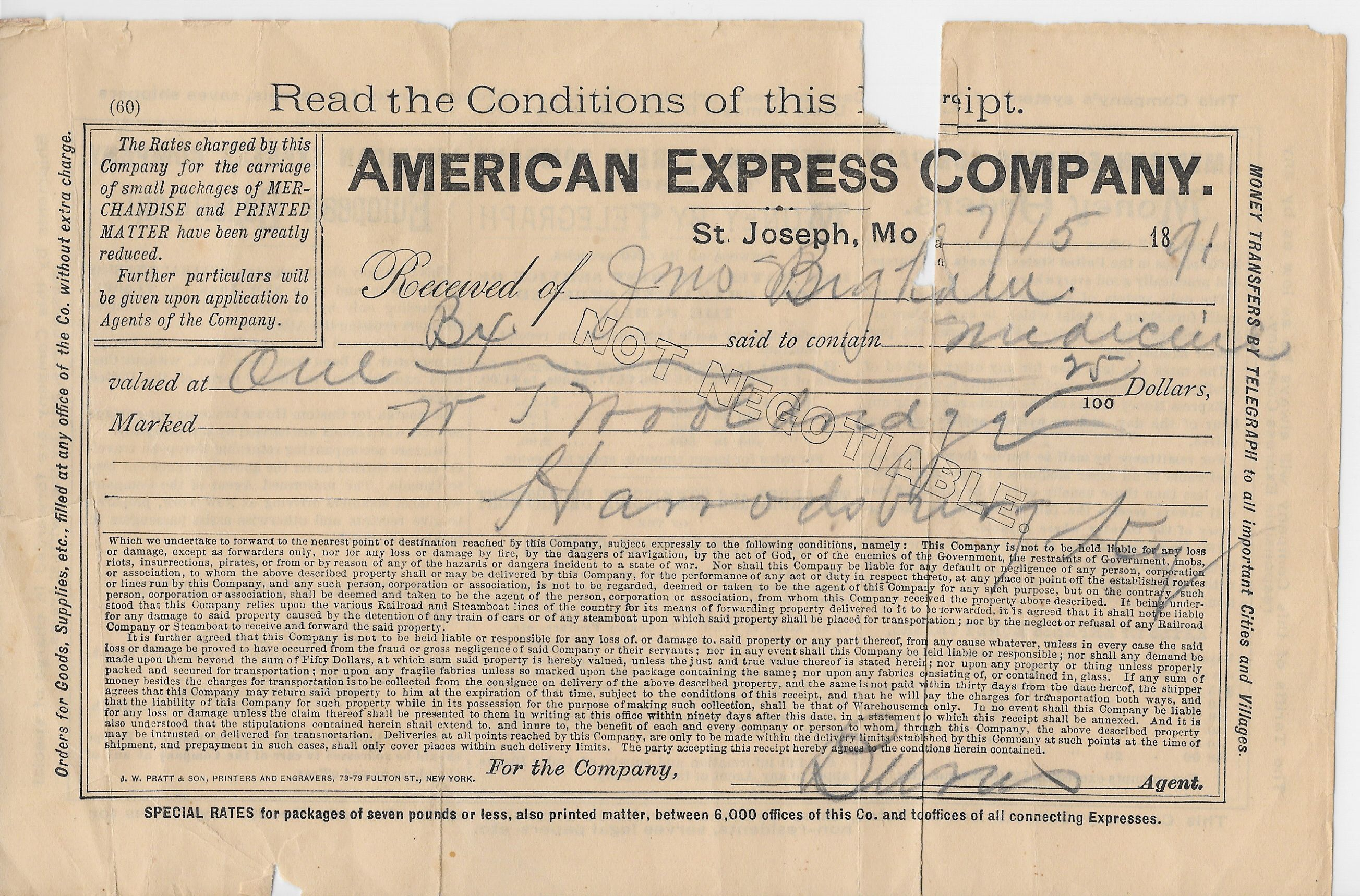 1891 AMERICAN EXPRESS RECIEPT Vintage paper, Expressions