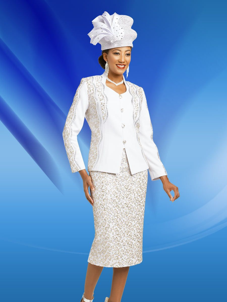 e36ca96edf7 Ben Marc 48153 is a two piece ladies  knit church suit that has a 24 inch  jacket with gold pattern accents and a 32 inch skirt in a gold pattern.