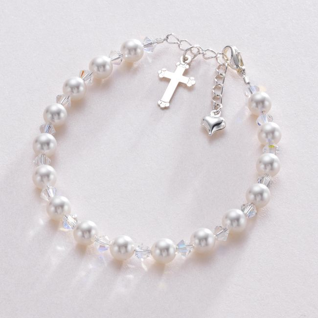 Christening Bracelet with Cross Heart Bracelet with Engraved Gift