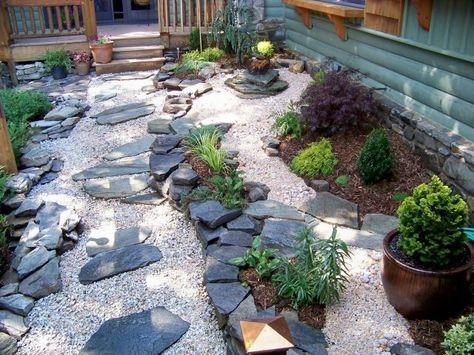 japanischer garten steine kies pflanzen elemente vorgarten,