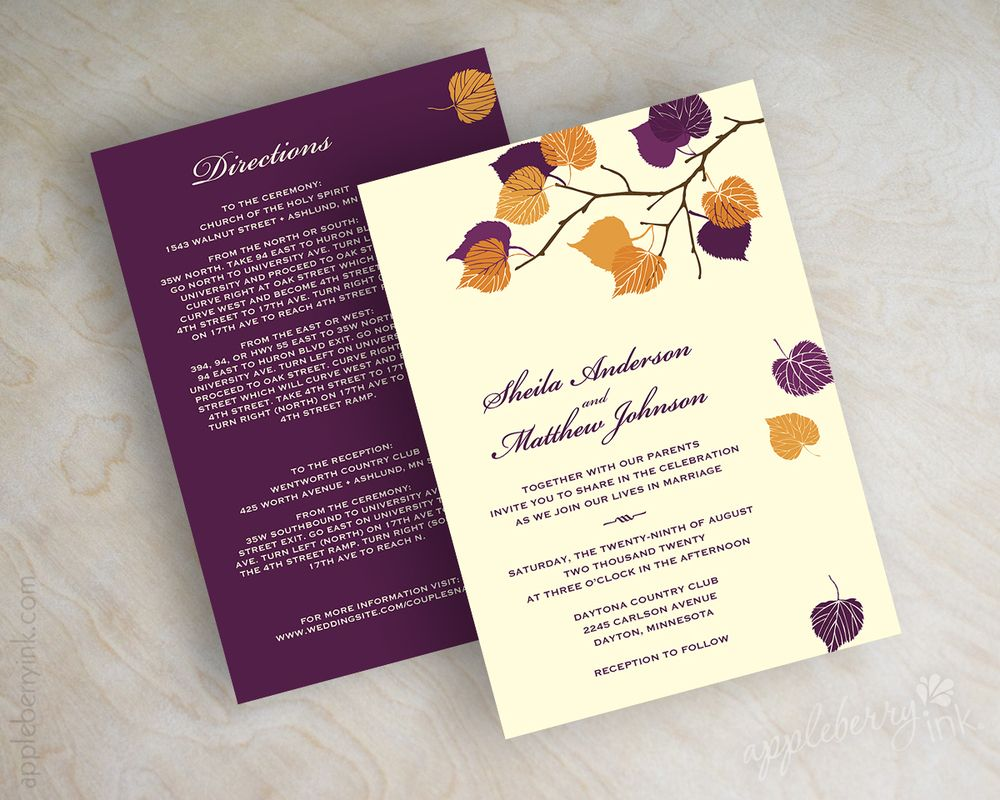 Serena Purple Orange Wedding Invitations Orange Wedding