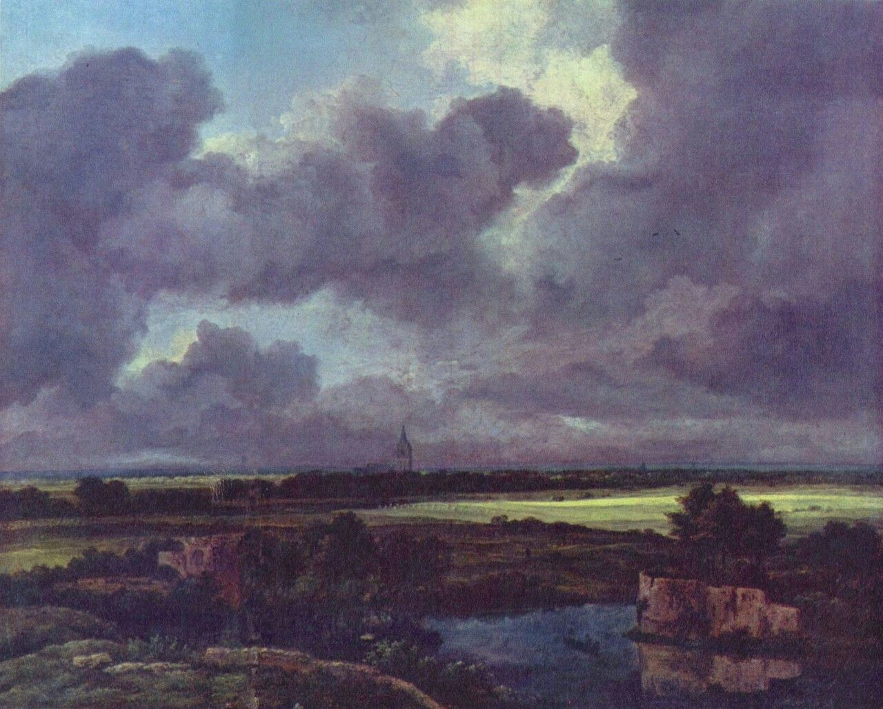 Landschaftsmalerei barock  Jacob Isaaksz. van Ruisdael. Weite Landschaft mit zerstörten ...