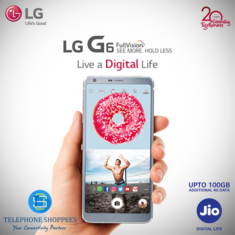 Live Digital with #LGG6 and Reliance Jio Offer! Now purchase any #G6