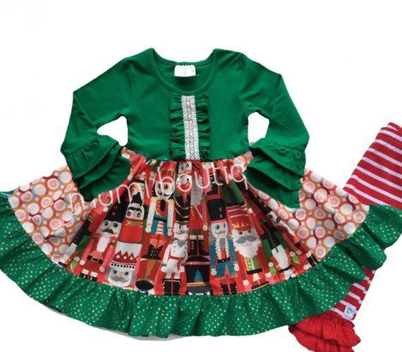 35cff6b04465c Girl's Nutcracker dress, toddler Christmas Nutcracker outfit, Holiday Nutcracker  Ballet dress, green Christmas card portrait dress
