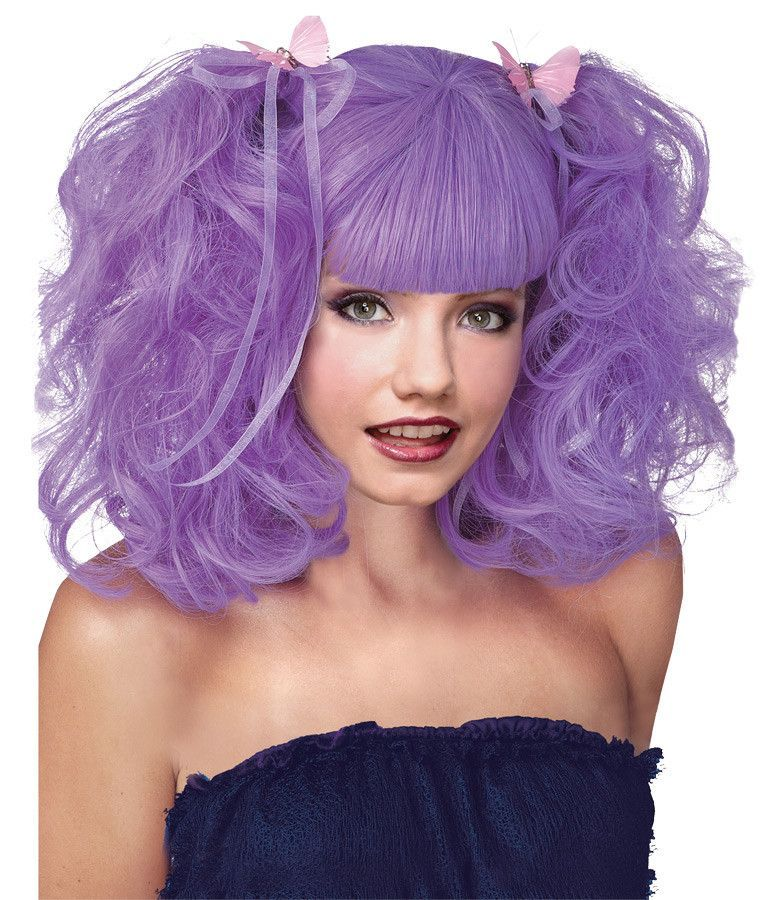 Wig lavender pixie Halloween wigs, Colored wigs
