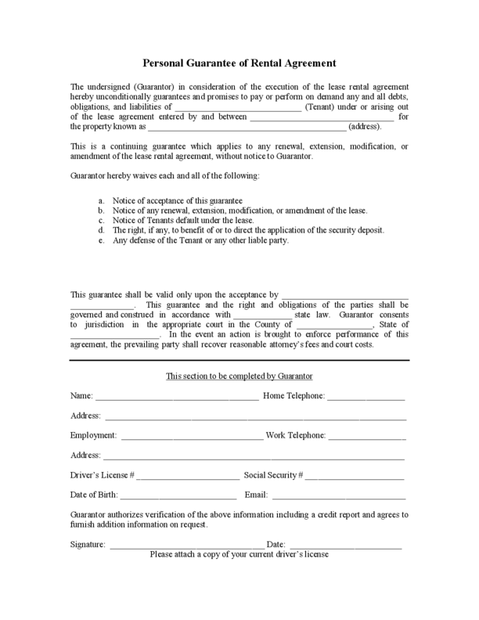 Personal Guarantee Form Template   Legal Forms