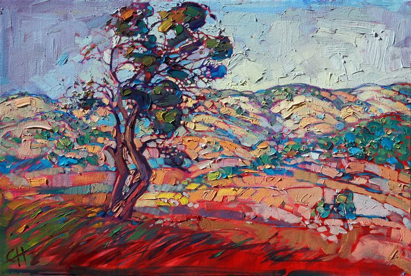 Thick oil paint creates movement in the painting, artwork by Erin Hanson