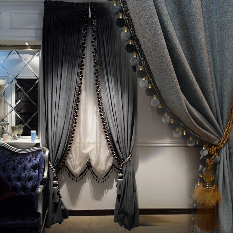 Luxury Europe style Italian velvet curtains with valance blackout thick solid curtains for bedroom window treatments & Luxury Europe style Italian velvet curtains with valance blackout ...