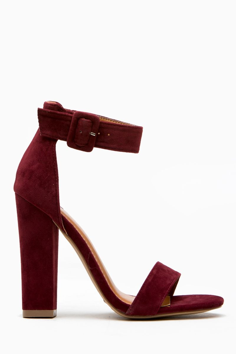 fced36fcd55 Burgundy Faux Suede Chunky Ankle Strap Heels   Cicihot Heel Shoes online  store sales Stiletto Heel Shoes