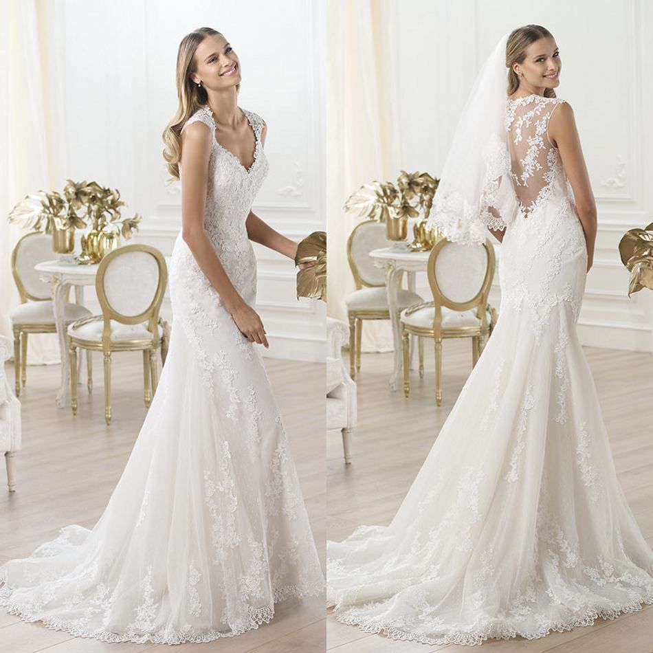 Wedding dress chic lace back wedding dress queen ann floor length
