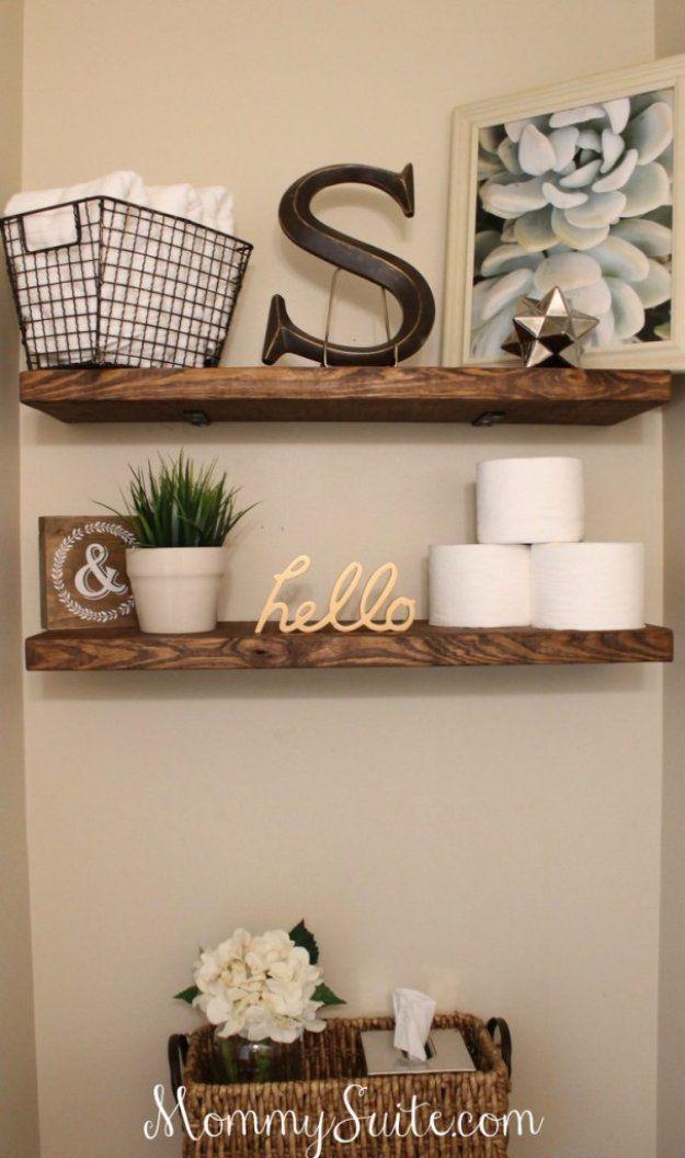 Elegant DIY Bathroom Decor Ideas   DIY Faux Floating Shelves   Cool Do It Yourself Bath  Ideas