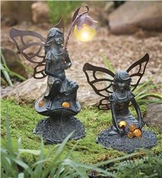 Set of 2 Resin Solar Fairy Garden Statues