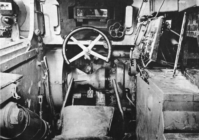 Inside turret Tiger 1, driver position