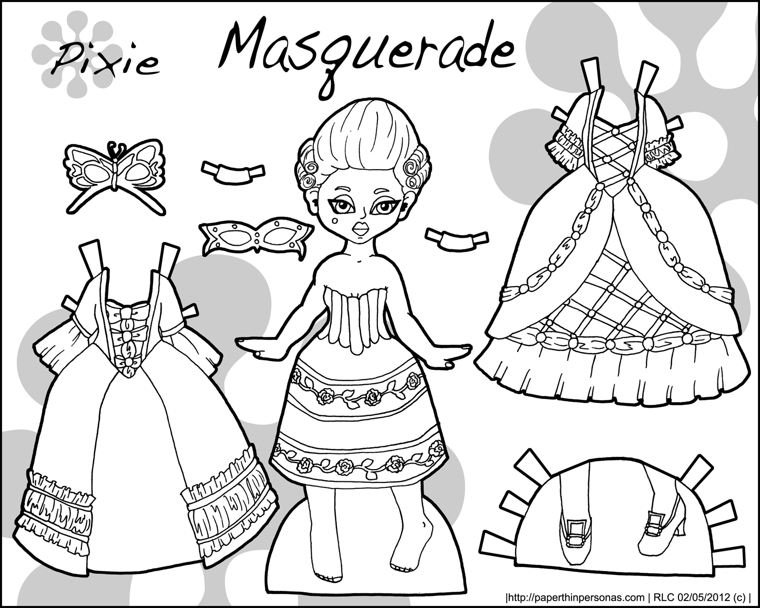 Pixies Printable Paper Dolls In Black And White