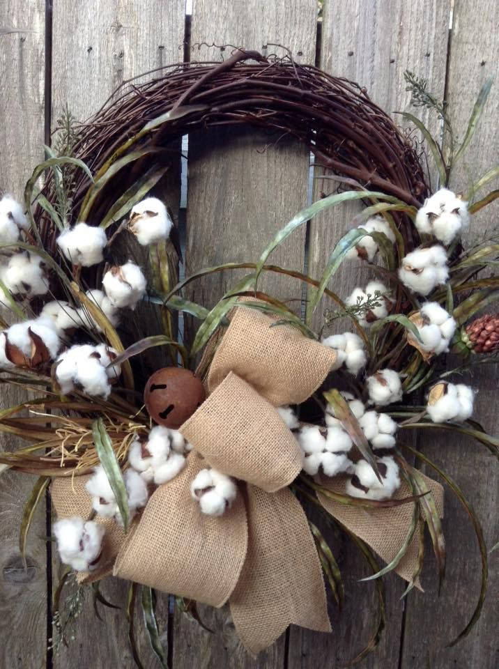 This Rustic Cotton Ball Wreath Made By Judy Forrest Is Simply Beautiful Do You Make Wreaths Or Other Handmad Primitive Wreath Cotton Boll Wreath Cotton Wreath