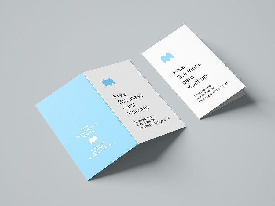 Free Folded Business Card Mockup 90x50 Mm