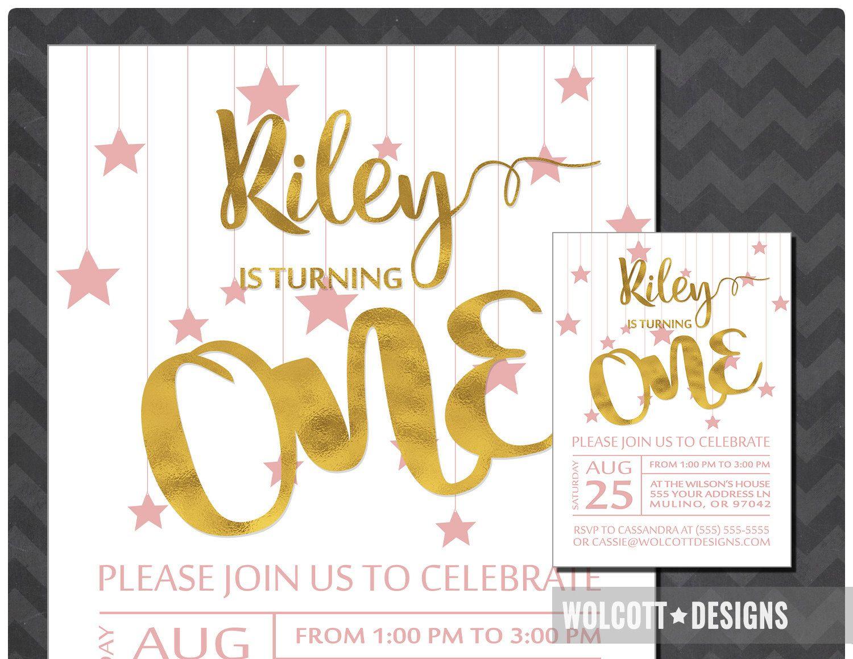 1st Birthday Party Invitation, Girl First Birthday Invitation, ONE ...
