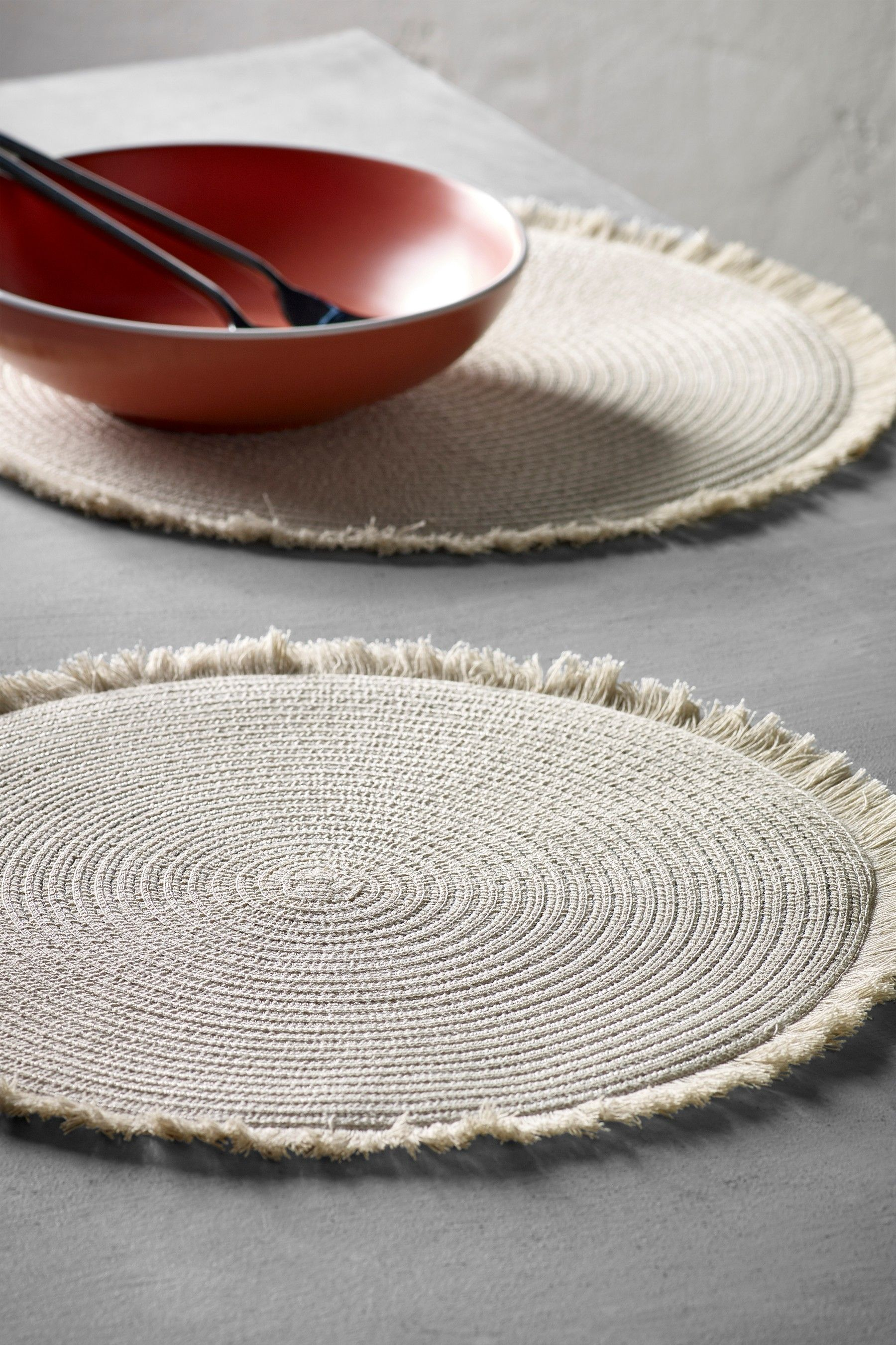 Next Set Of 2 Fringed Placemats Natural Grey Placemats