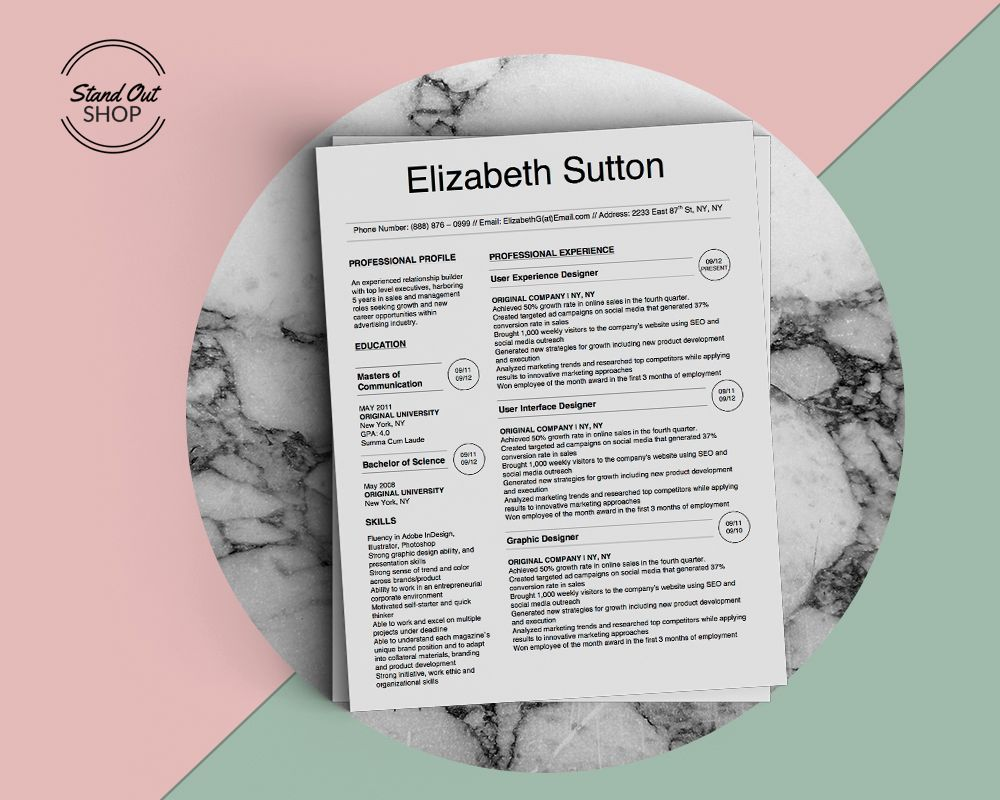 Elizabeth Sutton Resume Template  Stand Out Shop  Yup